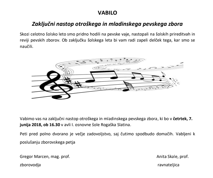 Zaključni nastop otroškega in mladinskega pevskega zbora